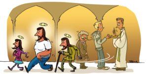 Communion cartoon tout le monde devient comme Jésus